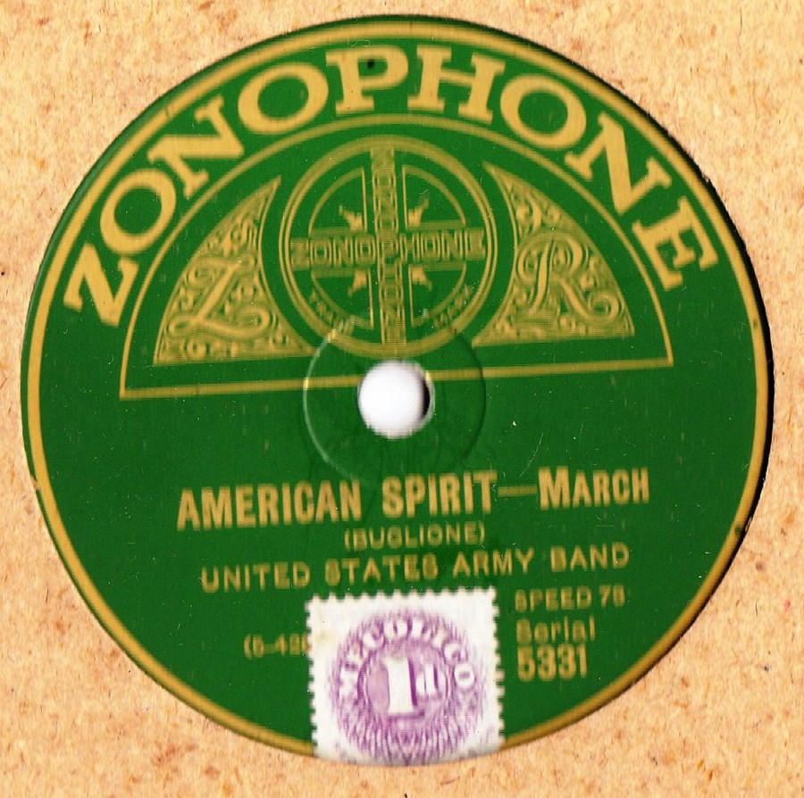 United States Army Band - American Spirit - Zonophone 5331