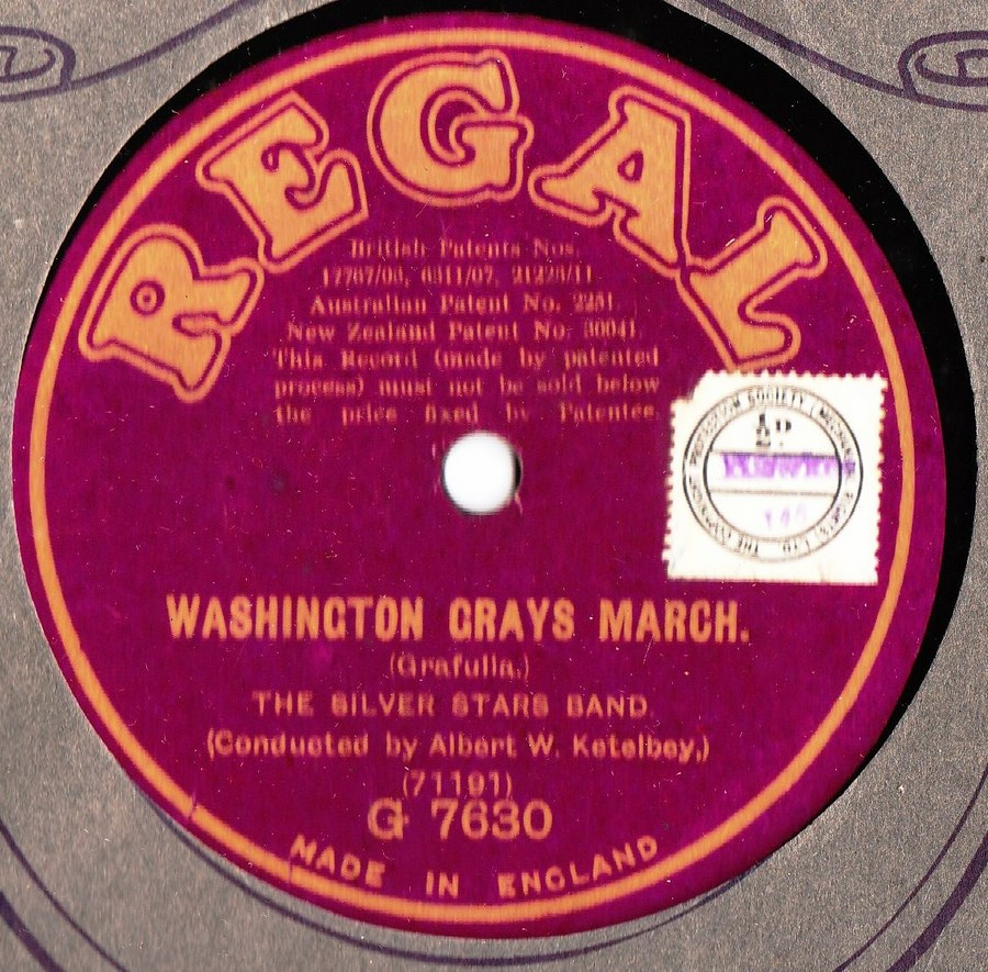 Silver Stars Band - Washingtons Grays March - Regal G.7630