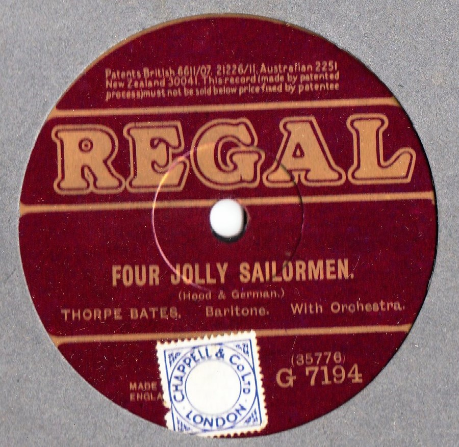 Thorpe Bates - Four Jolly Sailormen - Regal G. 7194