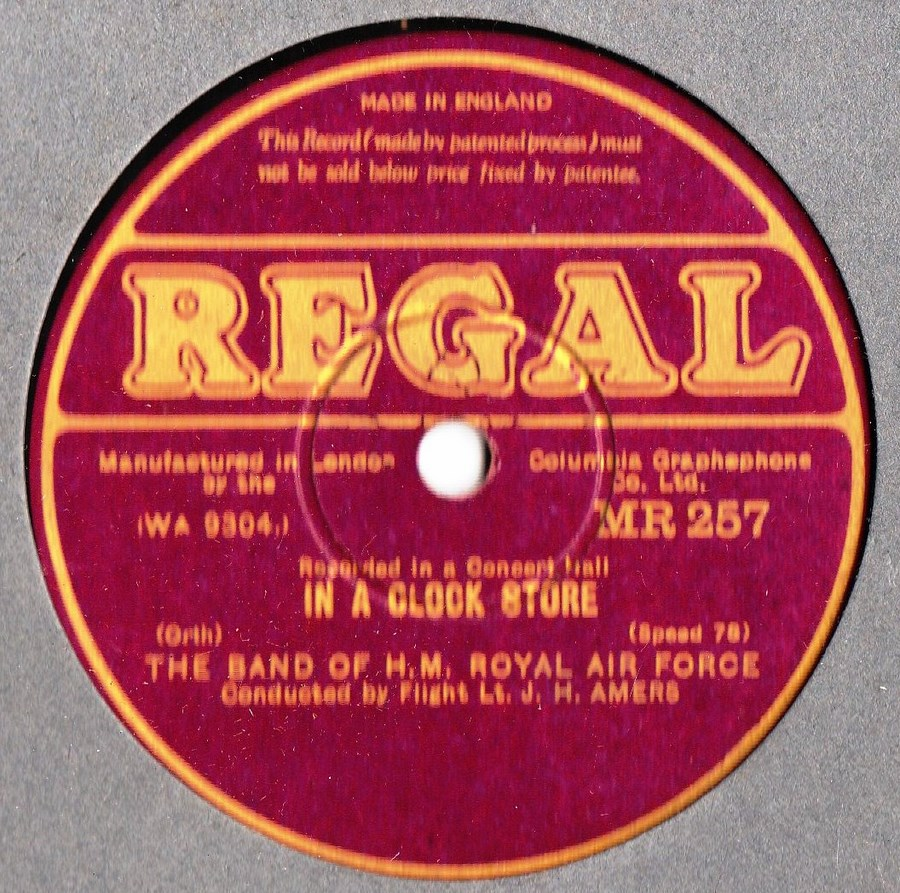 Band of H.M. Royal Air Force - In a Clock Store - Regal MR 257