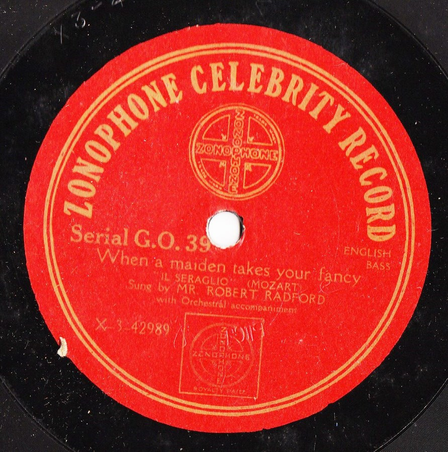 Robert Radford - I would I were a King - Zonophone G.O 39