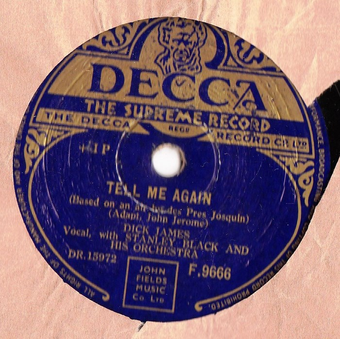 Dick James - Unless / Tell me again - Decca F.9666
