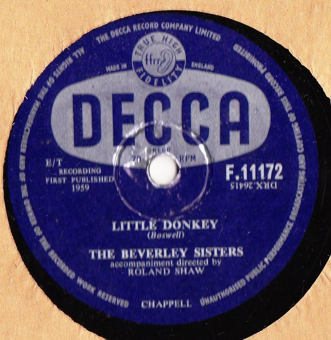 The Beverley Sisters - Little Donkey - Decca F.11172