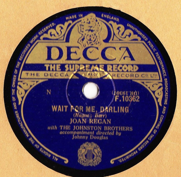 Joan Regan - Wait for me darling - Decca F.10362