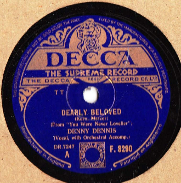 Denny Dennis - Dearly Beloved - Decca F.8290