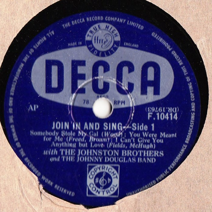 The Johnston Brothers - Join in and Sing - Decca F.10414