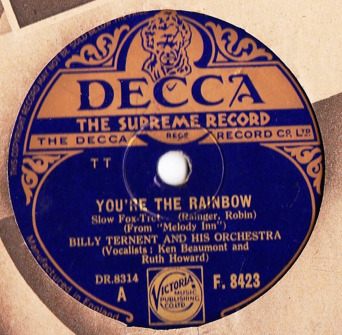 Bill Ternent - You're the Rainbow - Decca F.8423