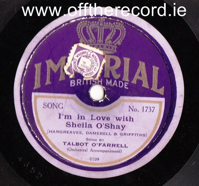 Talbot O'Farrell - Im in love with Shelia O'Shay - Imperial 1737