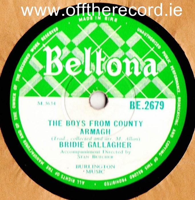 Bridie Gallagher - Boys fron the County Armagh - Beltona 2679