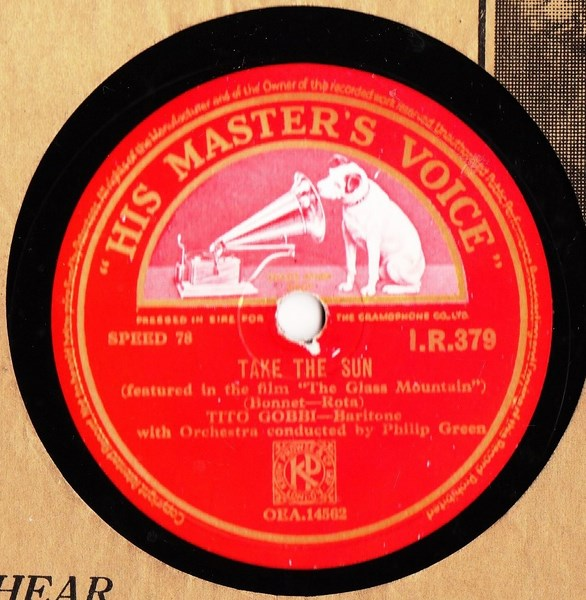 Tito Gobbi - Take the Sun - HMV I.R. 379 Irish
