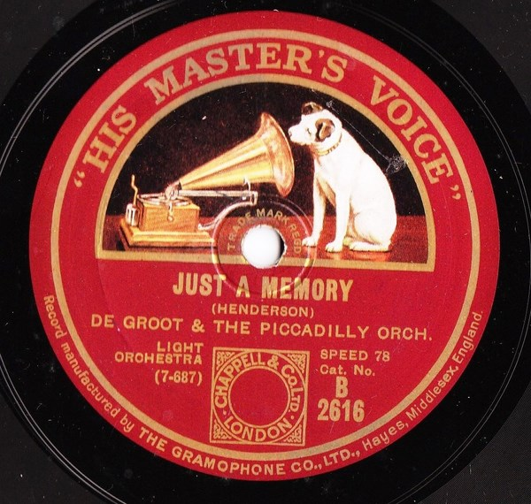 De Groot & Piccadilly Orchestra - Just a Memory - HMV B.2616
