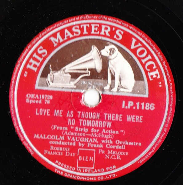 Malcolm Vaughan - St. Therese of the Roses - HMV IP.1186 Irish