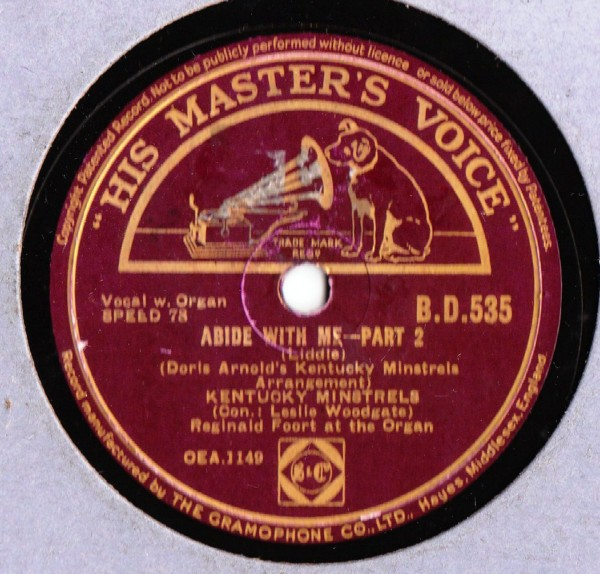 Kentucky Minstrels - Abide with me - HMV B.D. 535