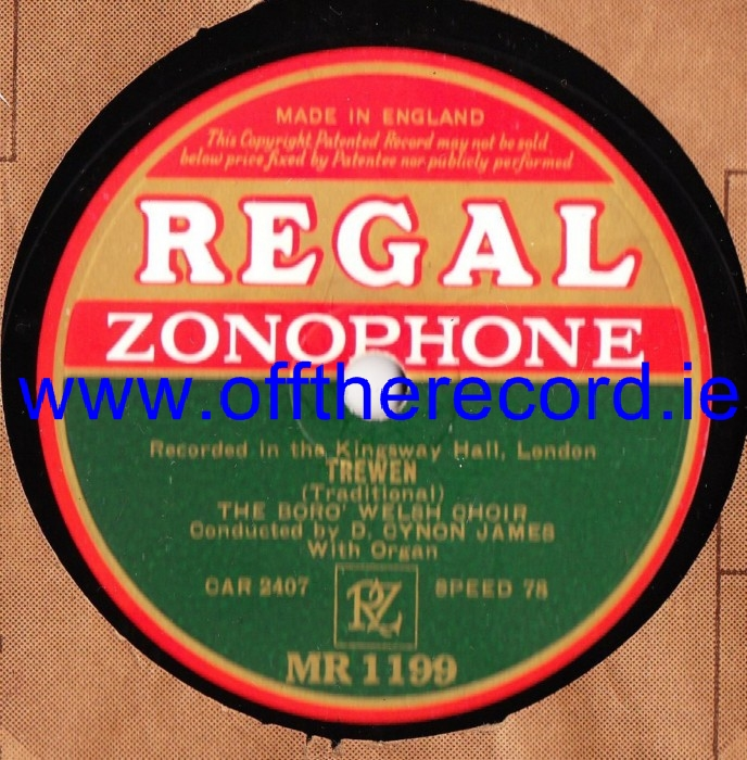 The Boro' Welsh Choir - Dolfor / Trewen - Zonophone MR 1199