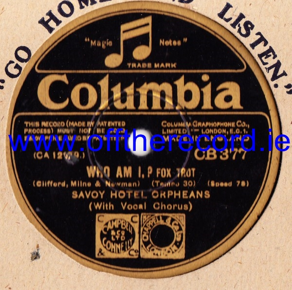 Savoy Hotel Orpheans - Who am I - Columbia CB.377 E-