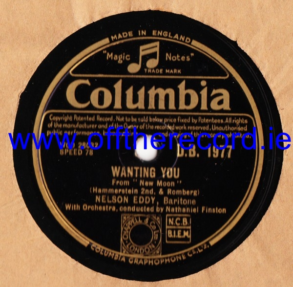 Nelson Eddy - Wanting You - Columbia D.B.1977