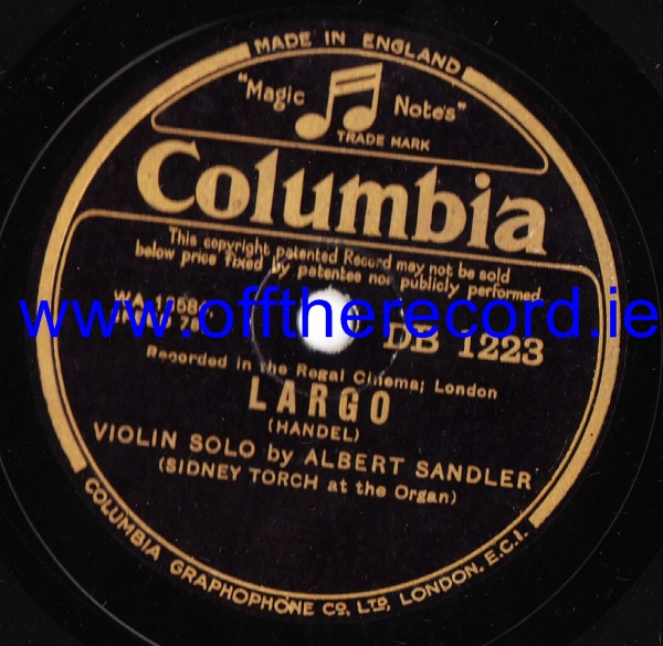 Albert Sandler - Londonderry Air - Columbia DB 1223