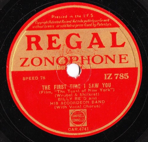 Billy Reid - The first time I saw you - Regal IZ 785 Irish
