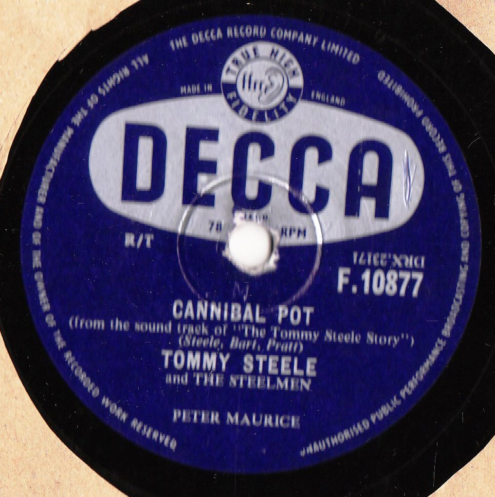 Tommy Steele - Cannibal Pot / Butterfingers - Decca F.10877
