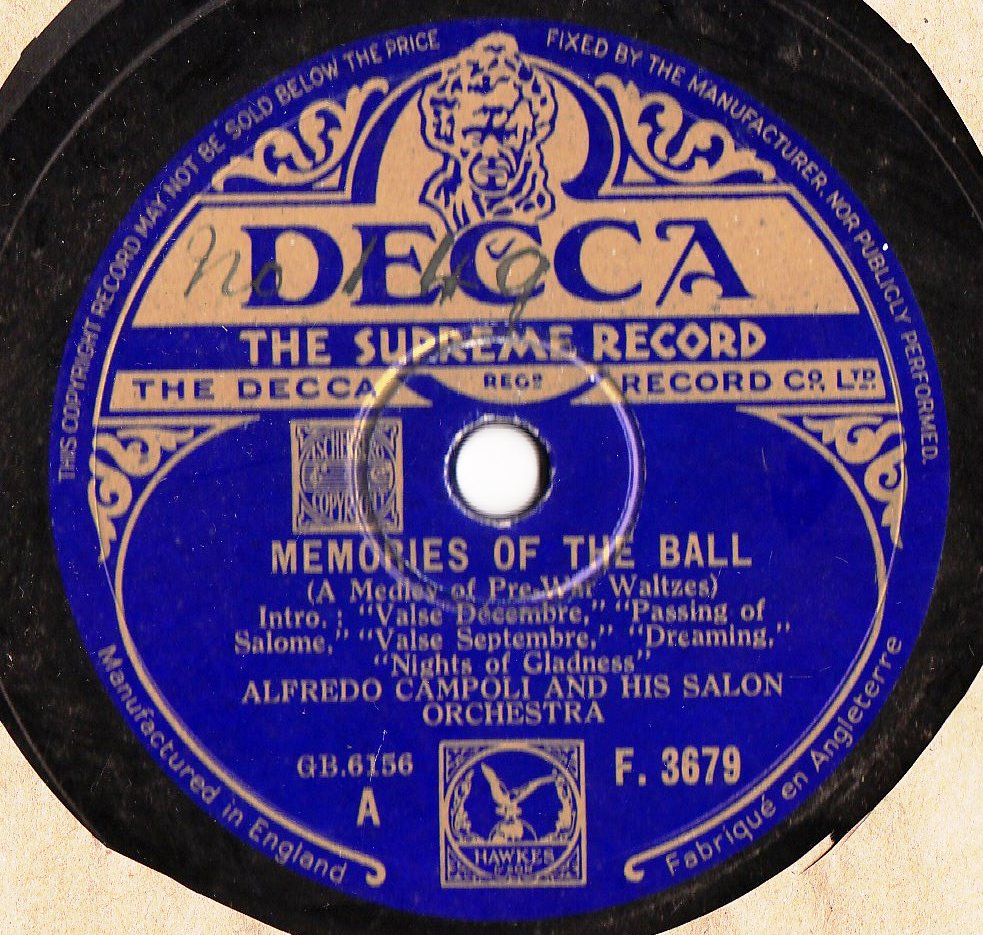Alfredo Campoli - Memories of the Ball - Decca F.3679