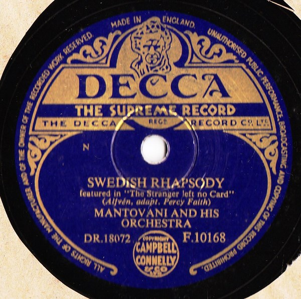 Mantovani - Swedish Rhapsody - Decca F.10168 UK