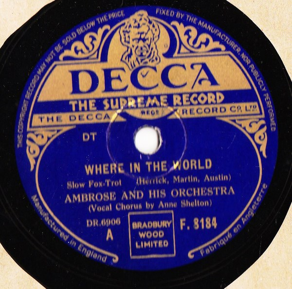 Ambrose & Orchestra - Where in the World - Decca F.8184