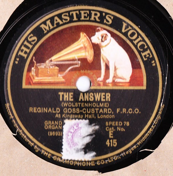 Reginald Goss Custard Organ - The Question - HMV E. 415