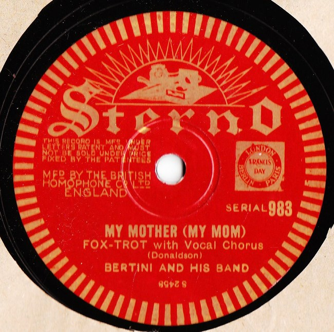 Bertini & His Band - My Mother - Sterno 983