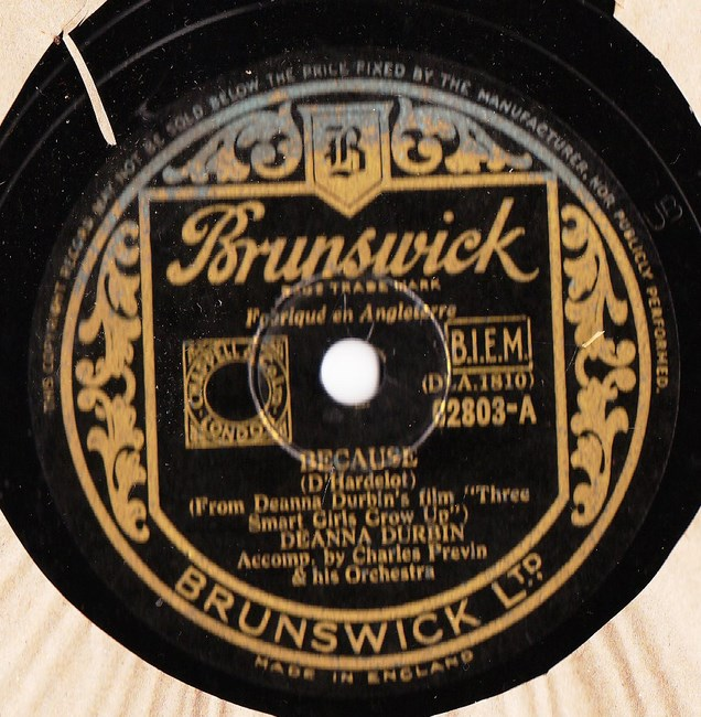 Deanna Durbin - Because - Brunswick 02803 UK
