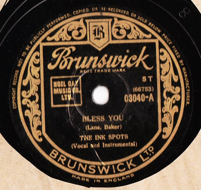The Ink Spots - Bless You - Brunswick 03040 Excellent