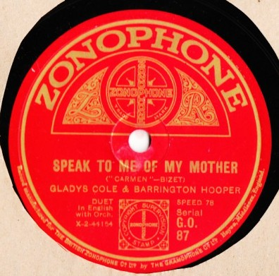 Barrington Hooper Bessie Jones , Gladys Cole - Zonophone GO.87