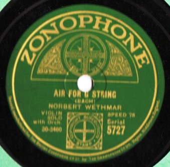 Norbert Wethmar Violin Solo - The Bee - Zonophone 5727