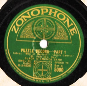 Black Diamonds Band - Puzzle Record - Zonophone 5000