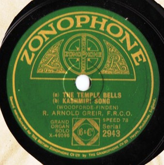R. Arnold Greir Organ - In Temple Bells - Zonophone 2943