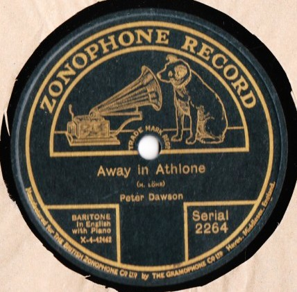 Peter Dawson - Away in Athlone - Zonophone 2264