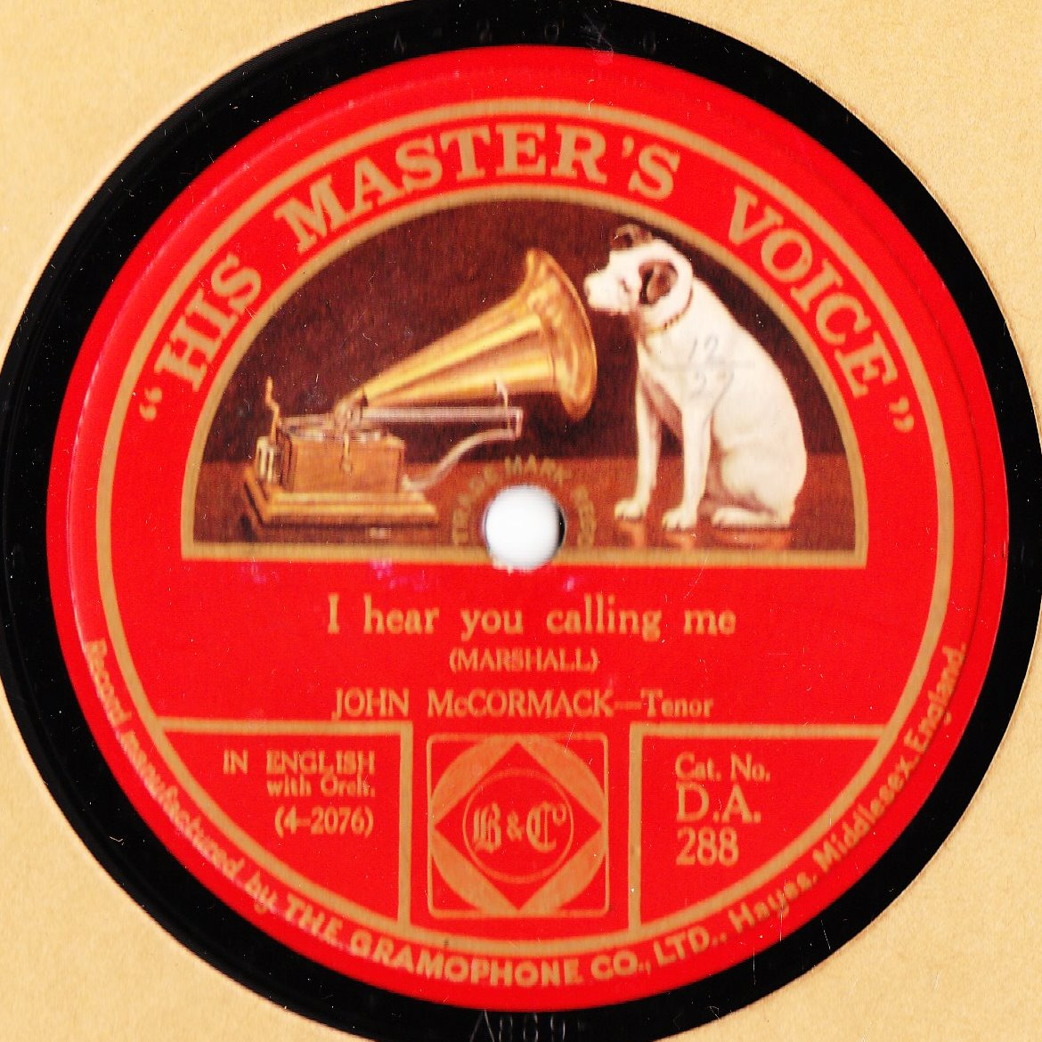 John McCormack - Dear Love Remember Me - HMV DA 288