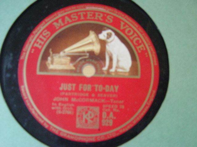 John McCormack - Just for today - HMV DA.929 VG+