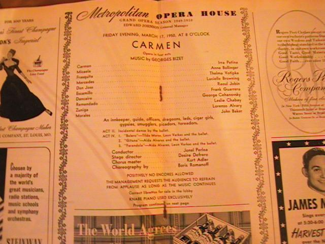 BIZET CARMEN PERLEA - MARCH 17 1950 No 1
