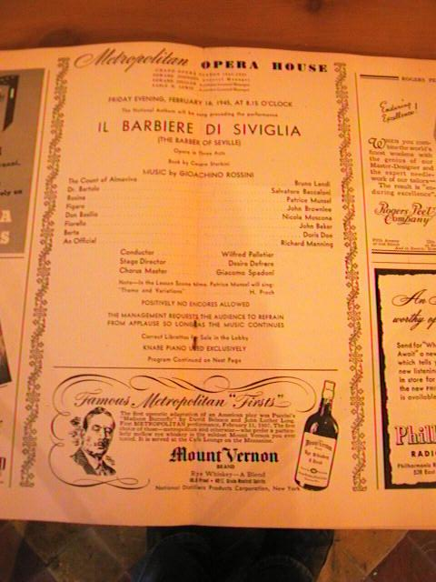 ROSSINI - BARBER SEVILLE - PELLETIER - FEB 16 1945 - No 3