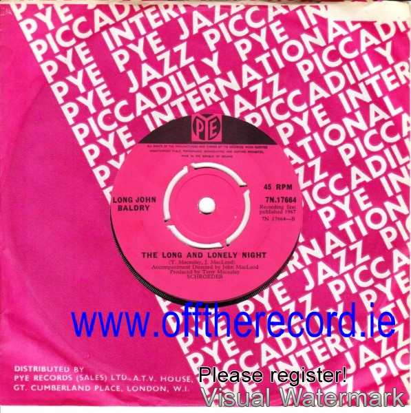Long John Bladry - Its too late - Pye 7N17664 - 1969 Irish