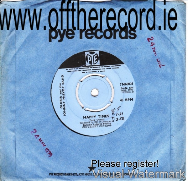 Gloria & The Johnny McEvoy Band - Pye 7N60021 - 1972