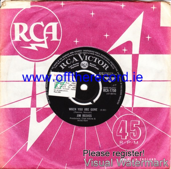 Jim Reeves - When you are gone - RCA UK 4230