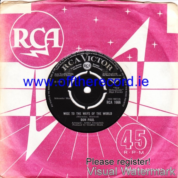 Don Paul - Wise to the ways of the world - RCA UK 4229