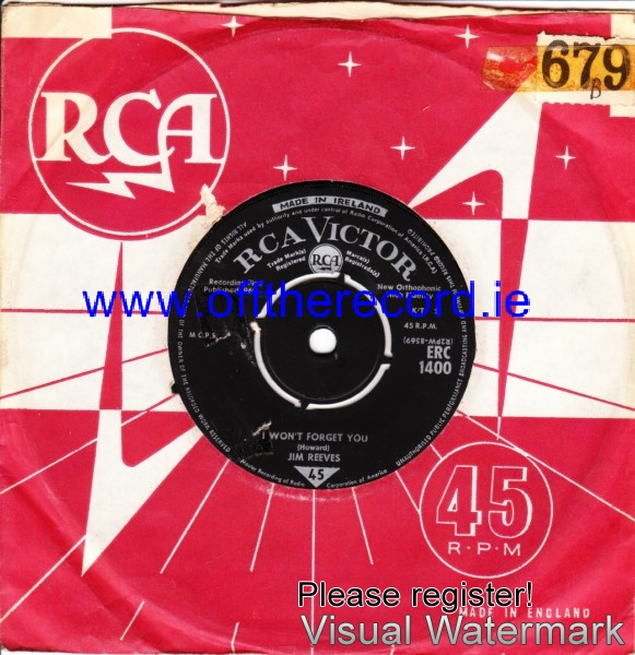 Jim Reeves - I wont forget you - RCA IRISH 4224