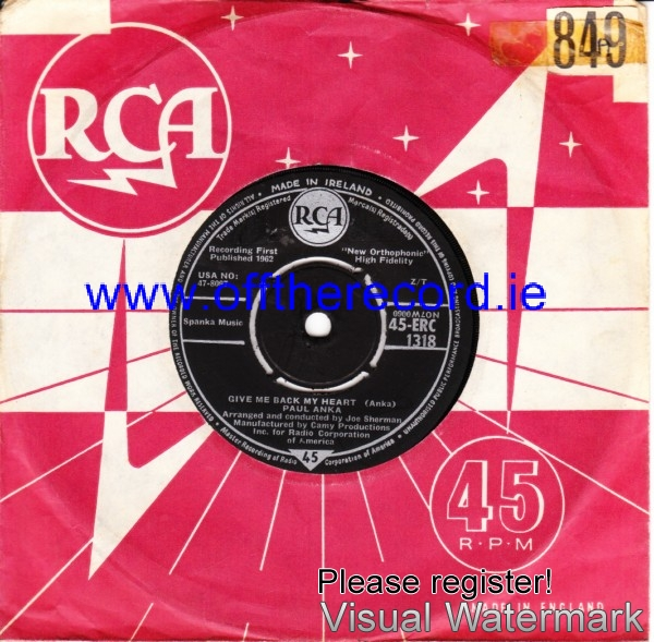 Paul Anka - Give me back my Heart - RCA Irish 4196