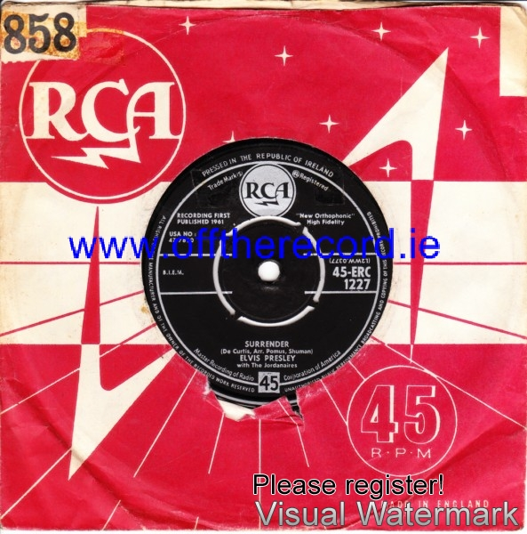 Elvis Presley - Surrender - RCA Irish 4192