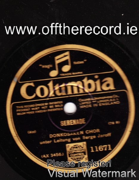 Serge Jaroff & Don Cossack - Serenade - Columbia UK 11671