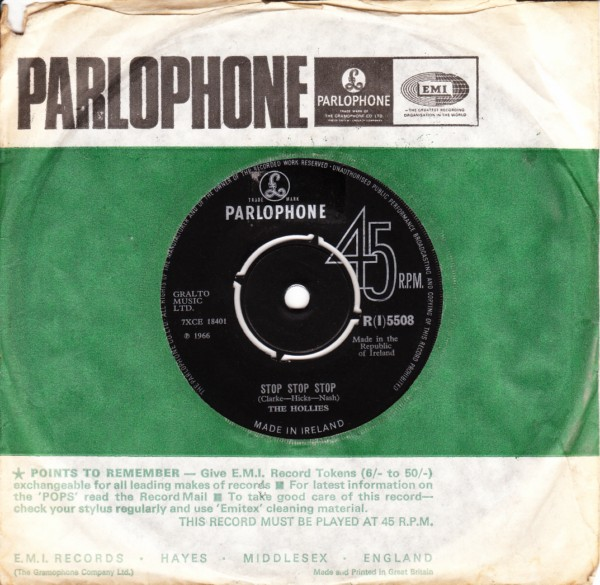 The Hollies - Stop Stop Stop - Parlophone Irish 3405
