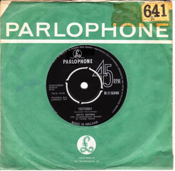 Matt Monro - Yesterday - Parlophone Irish 3411