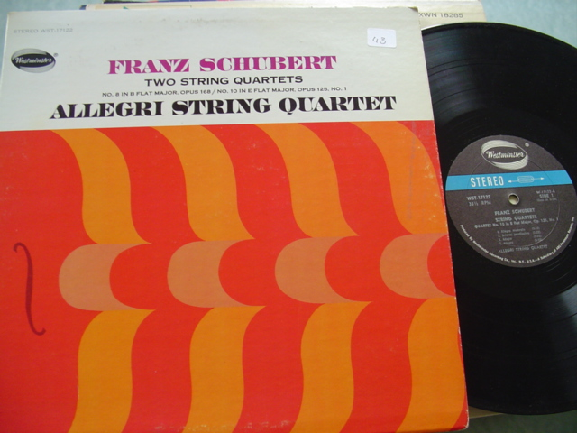 SCHUBERT - 2 QUARTETS - ALLERGI - WESTMINSTER